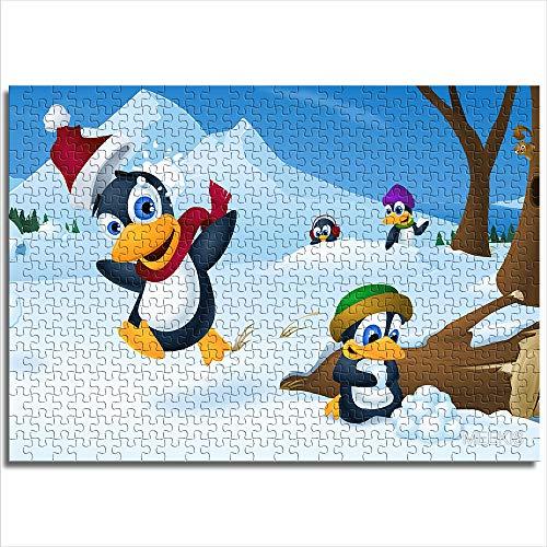 CELLYONE Piece Puzzle para niños de 1000 Piezas (pingüino de Navidad en la Nieve) Rompecabezas único, Adecuado para Juguetes educativos, Regalo de Bricolaje para Adultos y niños, desafío