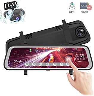 EWAY 10 Inch Full HD Touch Screen 1080P Backup Camera Dash Cam Front & Rear Dual Channel & Rear View Reversing Camera Night Vision, Anti-Glare Mirror, G-Sensor, GPS Tracking, with 32GB SD Card