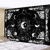 KHKJ Tapiz de Mandala de Luna y Sol, Tapiz de brujería, decoración Hippie, Sala de Estar, decoración del hogar, colchón A4 95x73cm