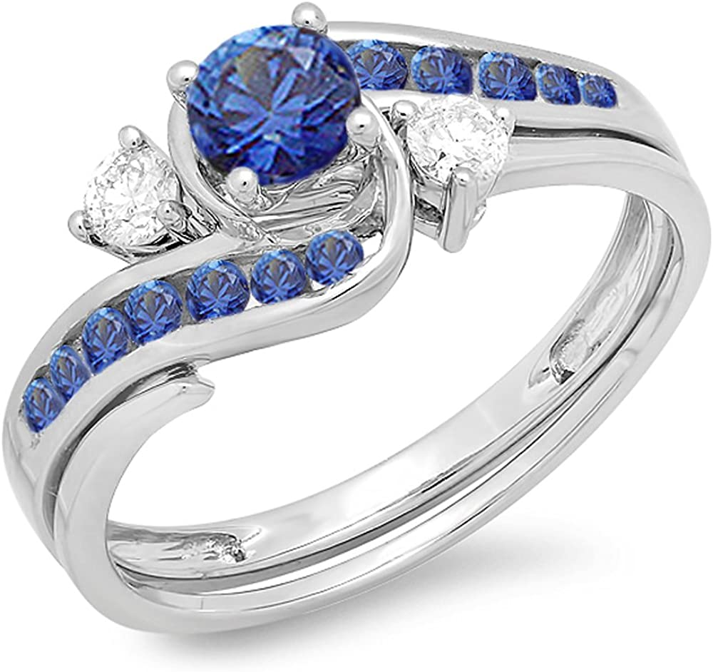 Dazzlingrock Collection 10K Blue Sapphire And White Diamond Swirl Bridal Engagement Ring Set, White Gold