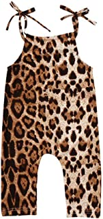 Toddler Baby Girls Sleeveless Jumpsuit Summer Clothes Outfit Leopard Straps Romper One-Piece Bodysuit