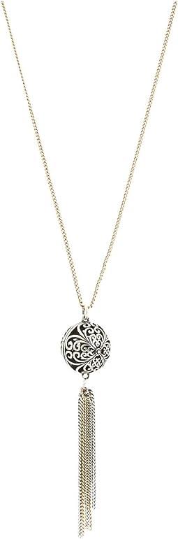 Lucky Brand Silver Openwork Tassel Necklace