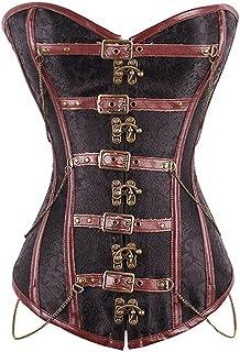 Women's Vintage Gothic Corset, Medieval Renaissance Court Corset Bodysuit Shapewear, Halloween Cosplay Accessories Brown,L