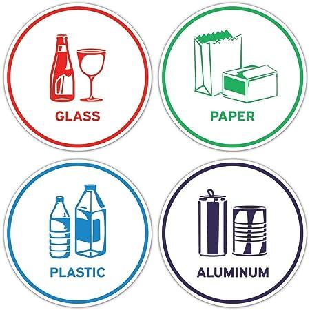 Amazon Com Pegatinas De Reciclaje Para Clasificar Papel Aluminio Plástico Vidrio Juego De 4 Pegatinas Home Kitchen