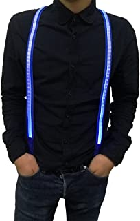 Fixinus Men's LED Light Up Suspenders for Party Favor, Extra Bright, One Size