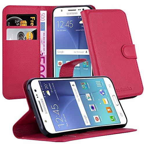 Cadorabo Funda Libro para Samsung Galaxy J5 2015 en Rojo CARMÍN - Cubierta Proteccíon con Cierre Magnético, Tarjetero y Función de Suporte - Etui Case Cover Carcasa