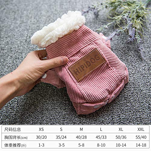 LXX Pet Kleidung Herbst-und Winterkleidung Sowie Samt Dicke Doppelschicht-Jacke Baumwolle Teddy Pommerschen Hundebekleidung XS (Lederetikett zufällig Rosa Kordjacke