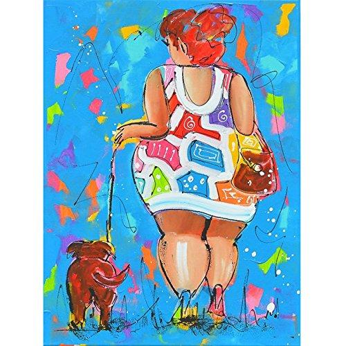 LLZZSX Cross Stitch/Crystal Borduurwerk/Strass Mozaïek/Foto Aangepast/Diamond Borduurwerk Dikke Dames En Haar Hond 5D Diy Diamant Schilderen Cross Stitch Volledige Vierkante Boor Strass Mozaïek