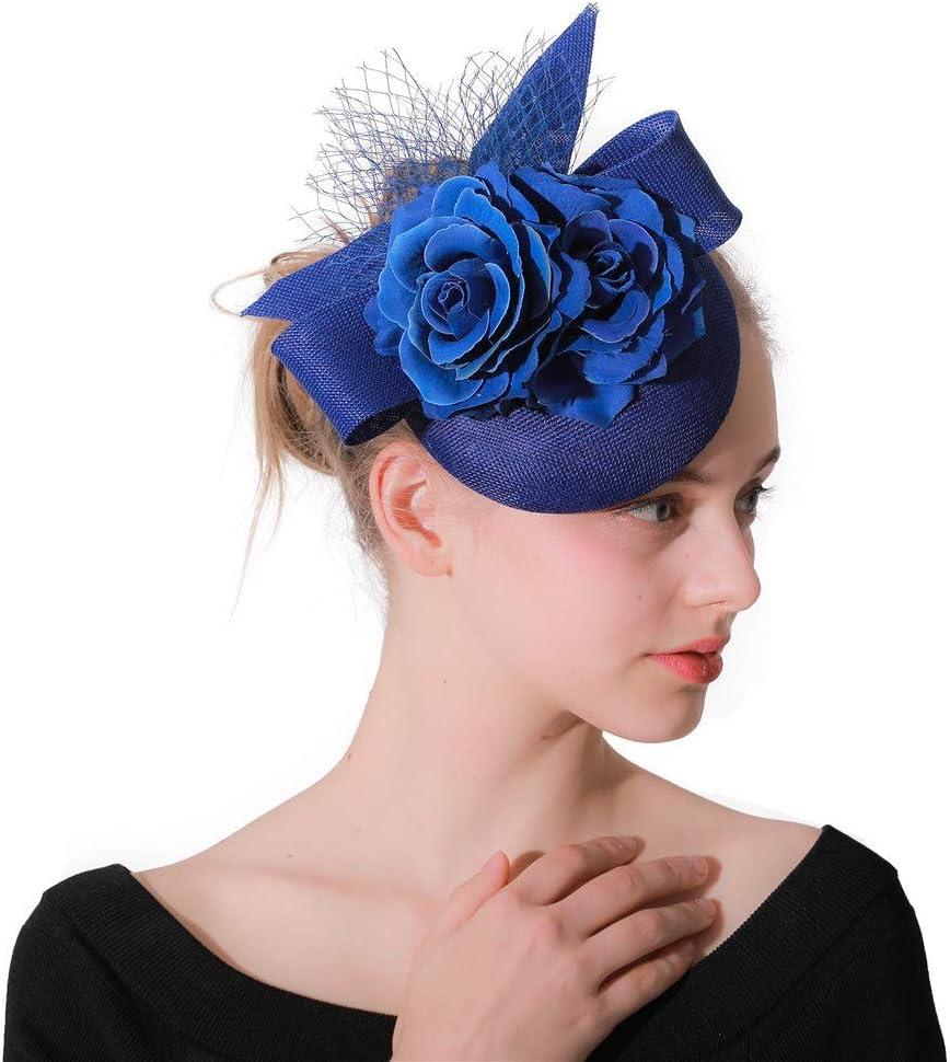 Hat Fascinators Hat Women's Tea Party Headband Wedding Cocktail Flower Mesh Flower Hair Clip Accessories (Color : Blue, Size : Free Size)