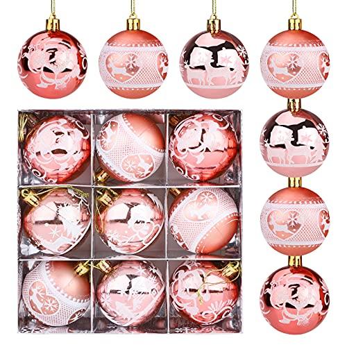 9 Pezzi Palline di Natale oro rosa 6 cm Ornamenti di palle di Natale Palline infrangibili Palline di Natale glitterate Renna di Babbo Natale Palle dell'albero di Natale Palla di Natale da appendere