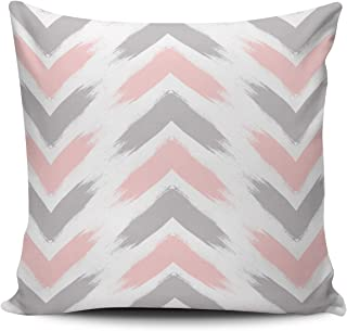 WEINIYA White Modern Pastel Pink Gray Arrow Brushstrokes Pattern Pillowcase Home Decorative 18x18 Inch Square Throw Pillow Case Cushion Covers Double Sided Printed