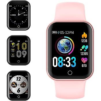 Smartwatch, KUNGIX Reloj Inteligente Impermeable IP68 Pulsera de Actividad Inteligente con Monitor de Sueño Pulsómetros Podómetro Contador de Caloría, para Hombre Mujer niños (Rosa): Amazon.es: Electrónica