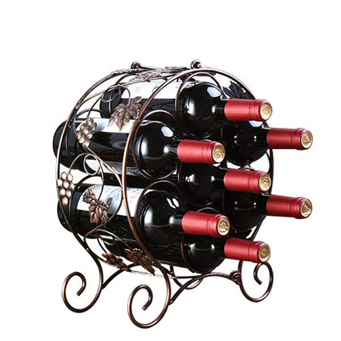うめき声条約添加CHUNSHENN ワイン収納 シャンパンホルダー ワインラックラウンドデザイン卓上ワインボトルは7本のワインボトルバロックヴィンテージデザインの銅色の自立メタルワインストレージラックホルダースタンド 置物 実用的 工芸品