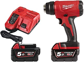 Milwaukee Tools Pistola de aire caliente M18 Milwaukee 18 V 2 baterías 5.0 Ah - 1 cargador 80 min bhg-502 C 4933459772, rojo