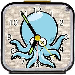 Bernie Gresham Alarm Clock Lovely Octopus Alarm Clock for Children Custom Square Black Alarm Clock 3.27
