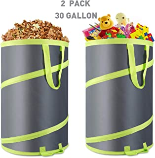Hortem 2 Pack Lawn Reusable Leaf Bag- Collapsible Pop Up Garden Waste Bag- Heavy Duty Spring Camping Yard Trash Can with Drain Holes and Wind Rope(30 Gallon)