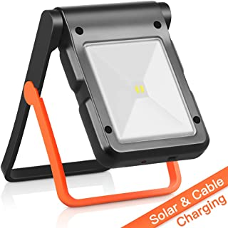 Neporal Portable LED Work Light Solar and USB Rechargeable with 2 Brightness Modes 360°Adjustable Flashlight Solar Camping Lights 550mAh 50lm Rechargeable Night Light for Household Camping Hiking Car