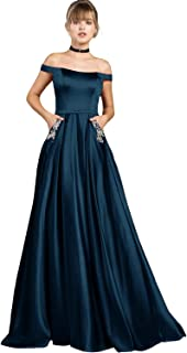 Yilis Women's Off The Shoulder Beaded A-line Evening Prom Dress Long W/ Pockets