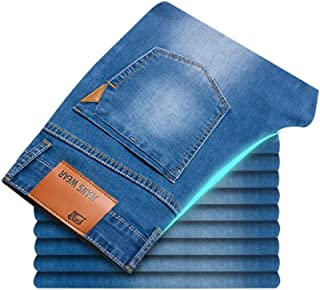 LUKEEXIN Business Casual Stretch Slim Denim Pants Classic Style Jeans for Men Light Blue Black Trousers