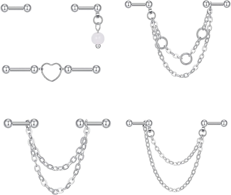 QWALIT 16gauge Industrial Earrings Outstanding Max 83% OFF Chain Piercing Jew