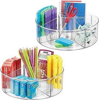 mDesign plateau tournant pour stylos, trombones, pense-bête etc. (lot de 2) – accessoire de bureau rotatif avec 5 comparti...