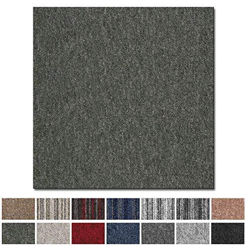 Teppichfliesen Vienna selbstliegend | Rücken: Bitumen, rutschhemmend | Strapazierfähig | Bodenbelag für Büro und Gewerbe | 50x50 cm | Viele Farben (Grün)