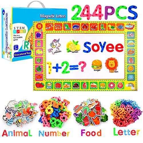 Soyee 244pcs Magnetic Letters and Numbers, Fridge Magnets for Refrigerator Fun, Alphabet ABC Magnets Toys Learning Gift for 3,4,5,6,7 Years Old Kids, Toddlers,Girls, Boys