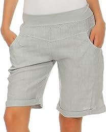 Bermuda en lin pour femme - Pantalon décontracté -
