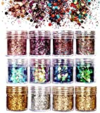 12 Colors Festival Face glitter, Christmas Chunky Glitter for Eye, Body, Hair, Nail and Party Cosmetic Makeup