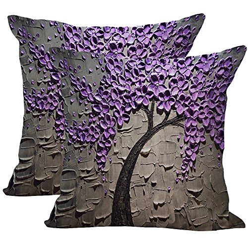 JOTOM Soft Cotton Linen Oil Painting Large Tree and Flower Throw Pillow Case Cover Flower Cushion Cover for Home Decorative Couch Sofa 45 x 45cm Set of 2 (Gray Purple Flower)