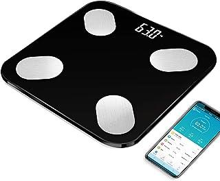 LK-HOME Peso Digital, Báscula De Baño De Peso Digital Y Báscula Inteligente, Medición De Alta Precisión De IMC, Grasa Visceral, Músculo, Etc, Aplicación Inteligente para Fitness,Negro