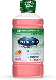 Pedialyte AdvancedCare Electrolyte Solution with PreActiv Prebiotics, Hydration Drink, Strawberry Lemonade, 1 Liter, 4 Count