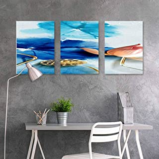BDDLS Original Oil Painting,Landscape Office Art Decoration 3 Panels,24x47inchx3pcs Landscape Ink Painting (38)