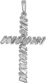 10K White Gold Baguette Shape Diamond Cross Pendant (0.62 Ct, Clarity-I2, Color-J)