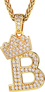 Richsteel A-Z Crown Initial Letter Necklace for Men Women 18K Gold Plated Iced Out Monogram Pendant with 22'' Chain+2'' (Extended) Hip Hop Name Jewelry