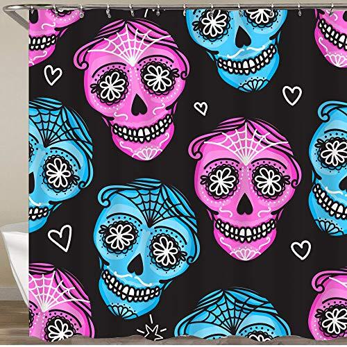KGSPK Cortinas de Ducha,Calavera Sign Dia De Los Muertos Mexican Day of The Dead,Impermeable Cortinas Baño y Lavables Cortinas Bañera 180x180CM