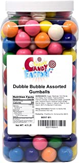 Gumballs 4.5 Lbs - Dubble Bubble Assorted 1 Inch Gumballs in Jar - 24 mm Gum Balls 4.5 Pounds by Sarah's Candy Factory