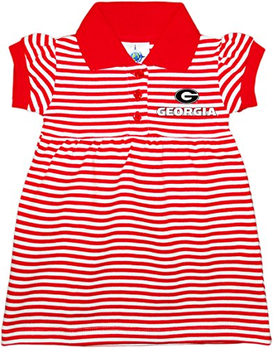 Creative Knitwear University of Georgia Bulldogs Circle G Newborn Infant Baby Striped Game Day Dress with Bloomers,Red/White,6-9 Months
