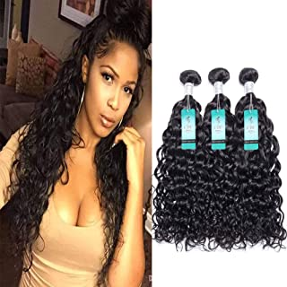Water Wave Human Hair Bundles, Malaysian Ocean Wave Wet and Wavy Bundle Deals 100% Human Hair Weave Extensions Remy Hair Bundles Malaysian Water Curly Hair 100g/bundle (10 12 14)