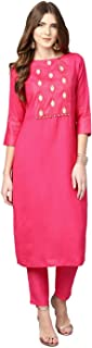 Jaipur Kurti Women Pink Solid Straight Rayon Kurta With Pant