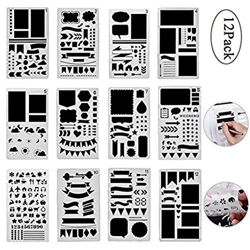 EisEyen 12 Plantillas de Dibujo para Diario, Plantillas, Escalera de Dibujo, de plástico, Pintura, Regla de Dibujo Multifuncional, para álbumes de Recortes, Tarjetas y proyectos de artesanía