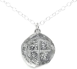 Bright Finished Pirate Pieces of Eight Coin Necklace - Shiny Pewter Replica of Spanish Coin - Made in USA
