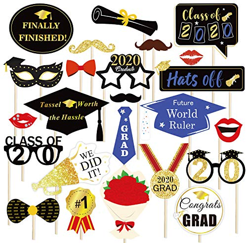 Konsait Graduation Photo Booth Props (24Count), Graduation Photo Props Class of 2020 Grad Decor with Sticks, Black Blue red and Gold for Graduation Party Favors Supplies Decorations