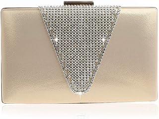 Bolso de Mano de satén para Mujer, para Fiesta, Baile de graduación, Novia, Noche, Bolso de Mano, Bolso de Mano Simple de Moda con Diamantes de imitación, Dorado (Dorado) - 9871862428056