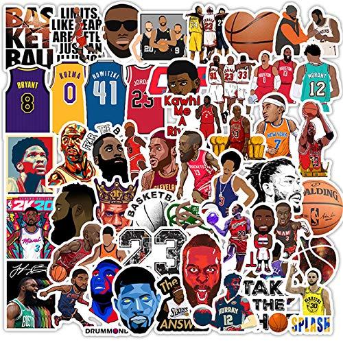 50 Stück Basketball-Stern-Aufkleber, NBA-Sticker, kleiner Aufkleber für Wasserflasche, Hydroflask Skateboard, Fahrrad, Computer, Auto, wasserdichte Aufkleber für Kinder, Jungen, Teenager