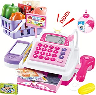 Sotodik Cash Register Pretend Play Supermarket Shop Toys with Calculator ,Working Scanner,Credit Card ,Play Food ,Money an...