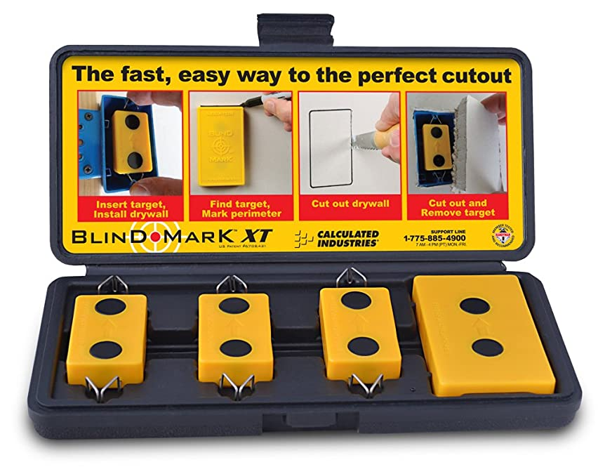 Calculated Industries 8105 Blind Mark Drywall Electrical Box Cutout Tool – Powerful Rare-Earth Magnetic Targets (3) and Locator Kit