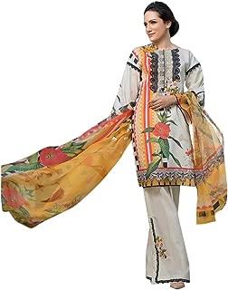 White Lawn Cotton Printed Pakistani Designer Kashmiri Pattern Palaazo Salwar Kameez Muslim Suit 8213