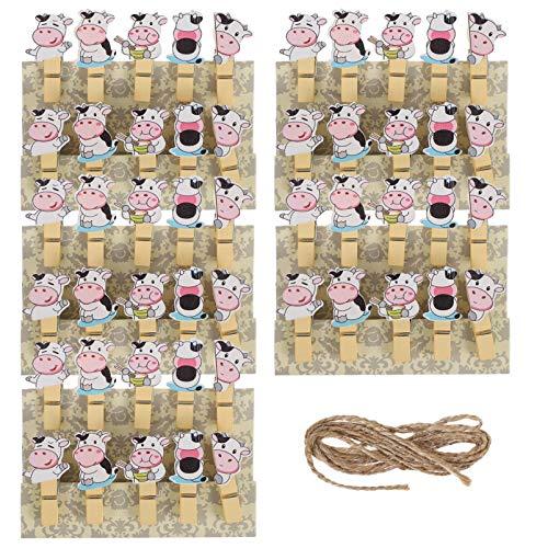 ABOOFAN 5 Paquetes de Mini Tendedero de Madera en Forma de Vaca Ropa para Lavandería Manualidades DIY Ropa Al Aire Libre Tendedero Hogar Cocina Viajes Oficina Decoración