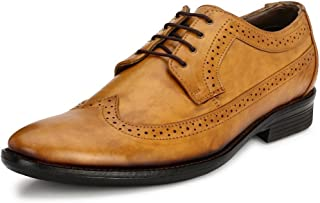 Mactree Genuine Leather Men's Comfortable Dress Shoes Oxford Shoes Wing-Tip Brogue